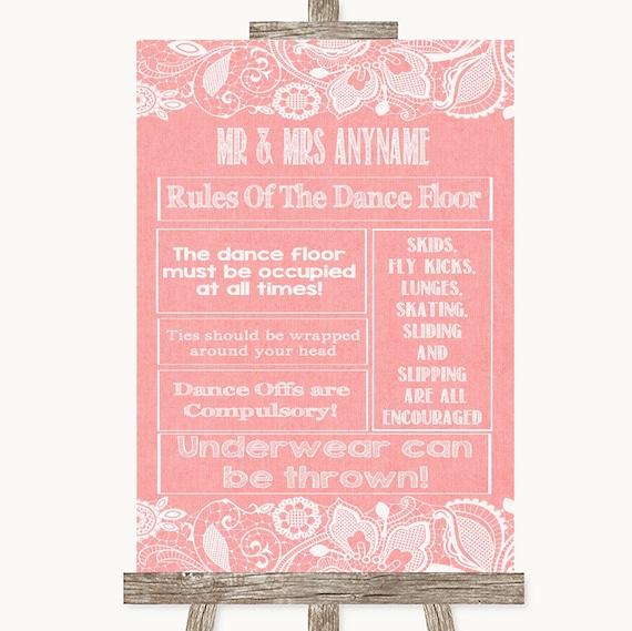 Rose Rustique Bois règles de la piste de danse personnalisé Mariage Signe