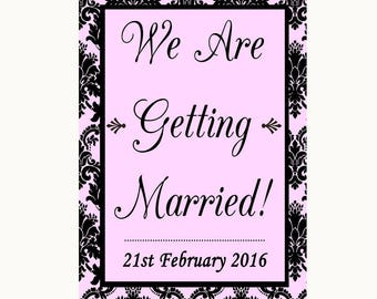 Baby Pink Damask We Are Getting Married Personalised Wedding Sign