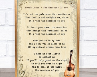 Norah Jones The Nearness Of You Song Lyric Vintage Quote Print
