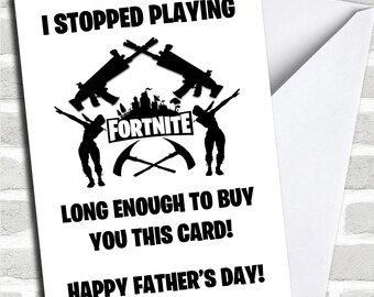 Funny Stopped Playing Fortnite Personalised Father's Day Card