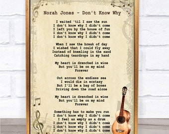Norah Jones Don't Know Why Song Lyric Vintage Quote Print