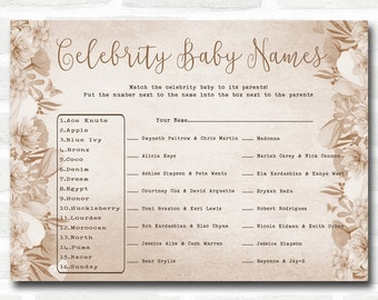 Baby Shower Games Floral Celebrity Baby Name Cards