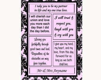 Baby Pink Damask Romantic Vows Personalised Wedding Sign