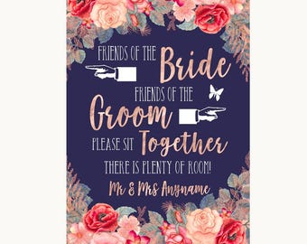 Navy Blue Blush Rose Gold Friends Of The Bride Groom Seating Wedding Sign
