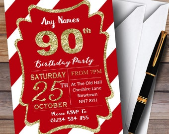 Red White Diagonal Stripes Gold 90th Personalised Birthday Party Invitations