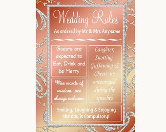 Coral Pink Rules Of The Wedding Personalised Wedding Sign