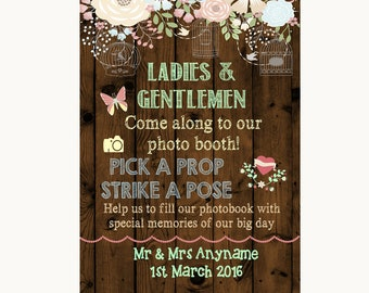 Rustic Floral Wood Pick A Prop Personalised Wedding Sign