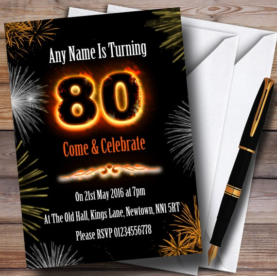 Fire and fireworks 80th birthday party personalised etsy image 0 filmwisefo