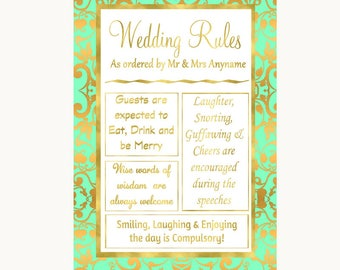 Mint Green & Gold Rules Of The Wedding Personalised Wedding Sign