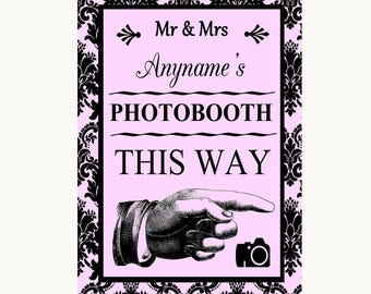 Baby Pink Damask Photobooth This Way Right Personalised Wedding Sign