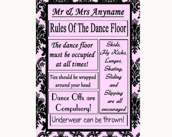 Baby Pink Damask Rules Of The Dancefloor Personalised Wedding Sign