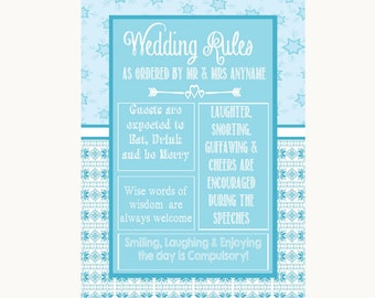Winter Blue Rules Of The Wedding Personalised Wedding Sign