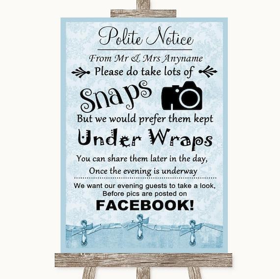 Bleu Shabby Chic n'affiche Photos Facebook mariage personnalisé