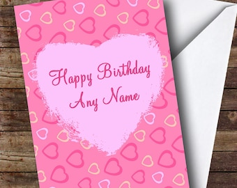 Pretty Pink Love Hearts Romantic Personalised Birthday Card