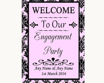 Baby Pink Damask Welcome To Our Engagement Party Personalised Wedding Sign