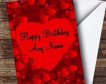 Red Love Hearts Romantic Personalised Birthday Card