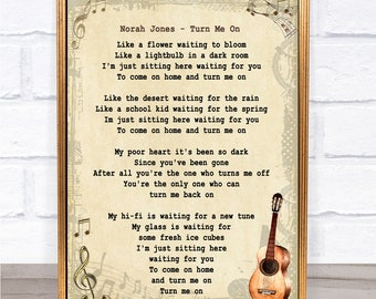 Norah Jones Turn Me On Song Lyric Vintage Quote Print