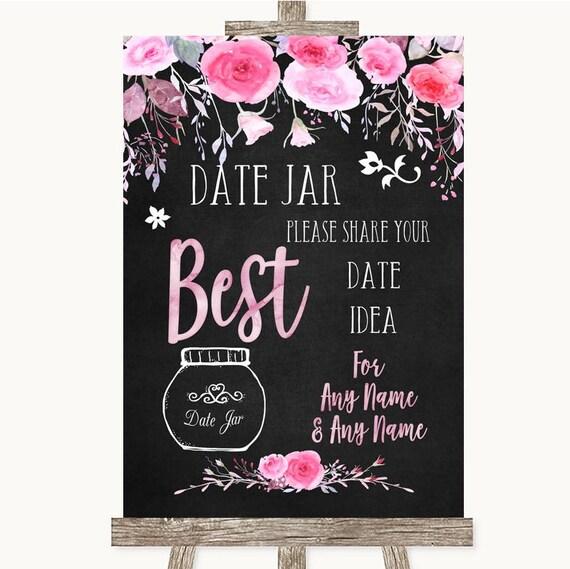 Craie Style aquarelle Date Floral rose pot le livre d'or mariage personnalisé signe