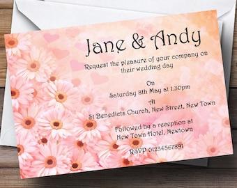 Pink Flower Hearts Personalised Wedding Invitations