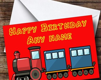 Red Train Personalised Birthday Card