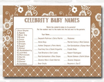 Baby Shower Games Burlap & Lace Celebrity Baby Name Cards