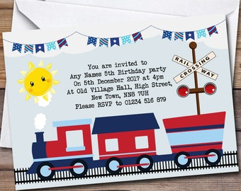 Blue & Red Train Children's Birthday Party Invitations