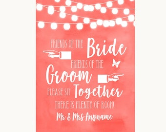 Coral Watercolour Lights Friends Of The Bride Groom Seating Wedding Sign