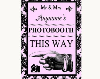 Baby Pink Damask Photobooth This Way Left Personalised Wedding Sign