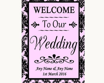Baby Pink Damask Welcome To Our Wedding Personalised Wedding Sign