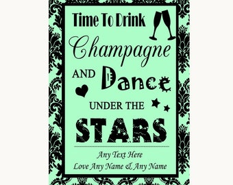 Mint Green Damask Drink Champagne Dance Stars Personalised Wedding Sign