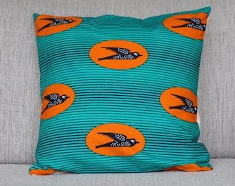 """Cushion cover - wax africain fabric """"Birdy"""""""