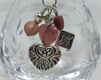 Semiprecious stone rhodonite heart purse charm,  silver heart bag charm, zipper charm, zipper pull, silver heart, silver celtic knot, love