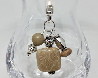 Petoskey Stone purse charm, Petoskey Stone bag charm, semiprecious stone zipper charm, brown stone zipper pull, Petoskey Stone keychain