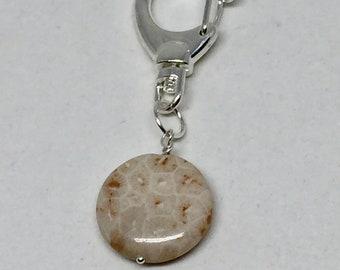 Petoskey Stone keychain, Petoskey Stone purse charm, Petoskey Stone bag charm, semiprecious stone zipper charm, brown stone zipper pull