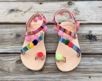 Baby pom pom sandals, Greek baby boho sandals, Baby Greek sandals, summer shoes for girls, real leather, handmade, made in greece sandals,