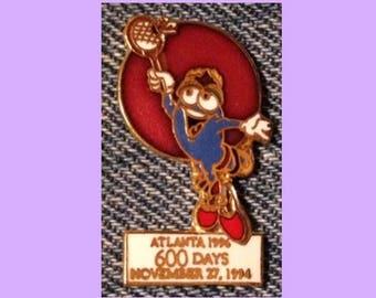 35a13a5bbe Badminton Olympic Pin ~ Mascot ~ IZZY ~ 1996 Atlanta ~ 600 Days to Go ~  Cloisonne by HoHo NYC