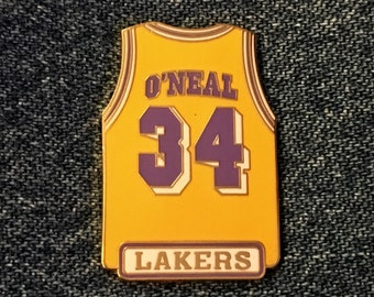 240fd3471f9 1998 Los Angeles Lakers ~ Shaquille O'Neal ~ #34 ~ Jersey Lapel Pin ~ LA ~  NBA ~ by Peter David