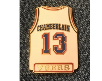 f31e564e7dc 1998 Philadelphia 76ers ~ Wilt Chamberlain  13 ~ Jersey Lapel Pin ~ NBA ~  by Peter David