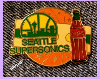 Seattle Supersonics Pin~NBA~Coca Cola~Coke~Vintage 1994 by Imprinted Products