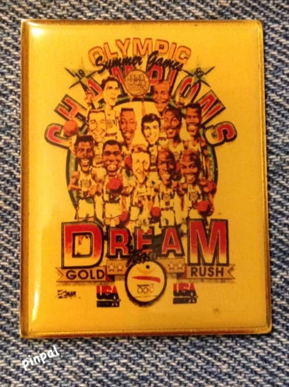 Basketball Olympic Pin Badge~1992~Barcelona~Drexler~Dream Team~Trail Blazers
