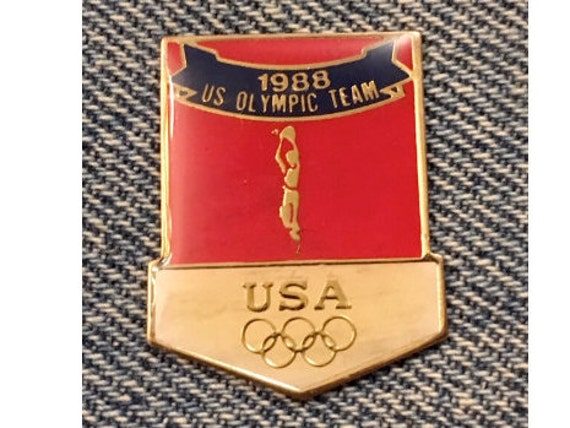 Weightlifting Olympic Pin~USA Team~1988 Summer Games~Seoul~by HoHo NYC