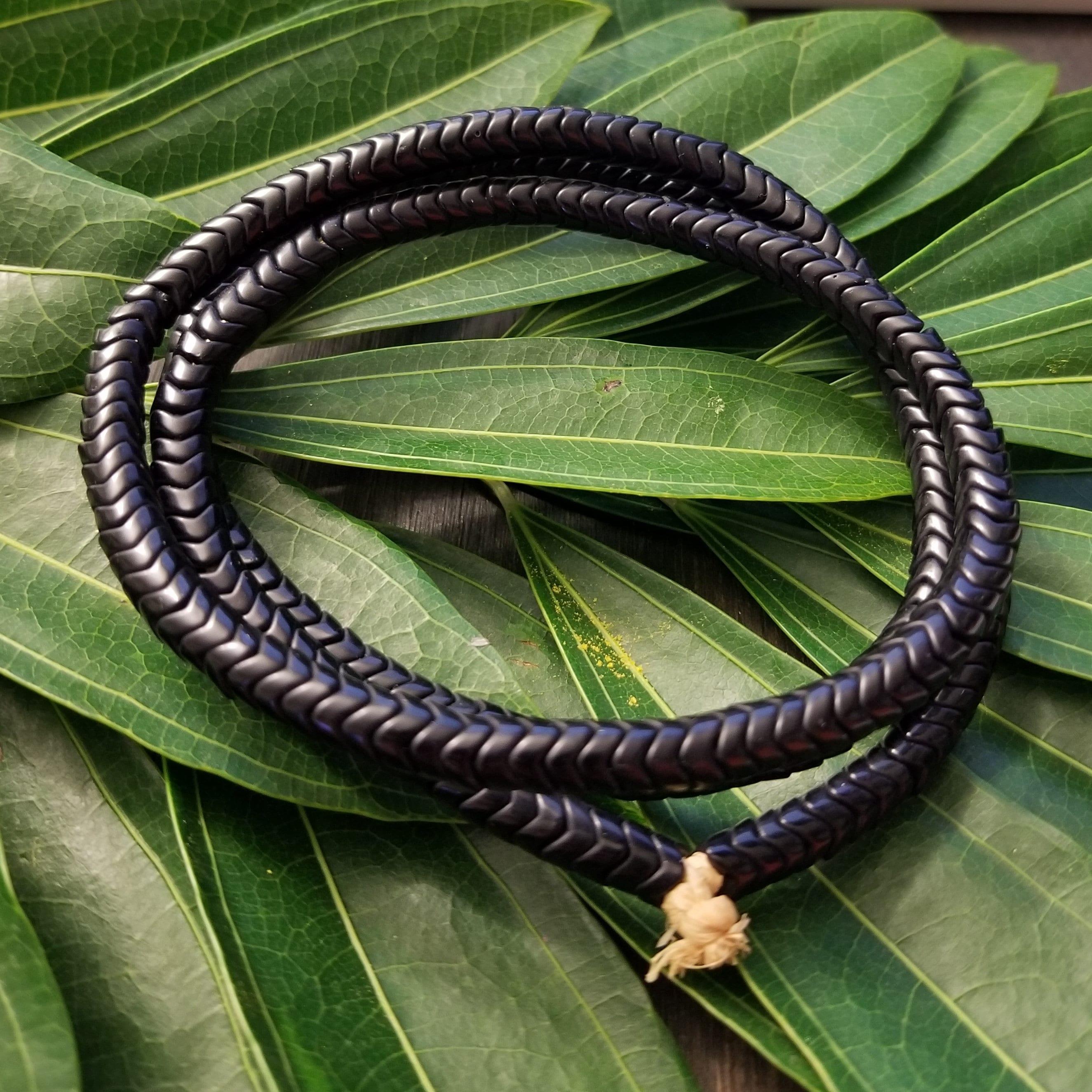 Black Glass Snake Beads 6mm Nigeria African Unusual 24 Inch Strand Handmade