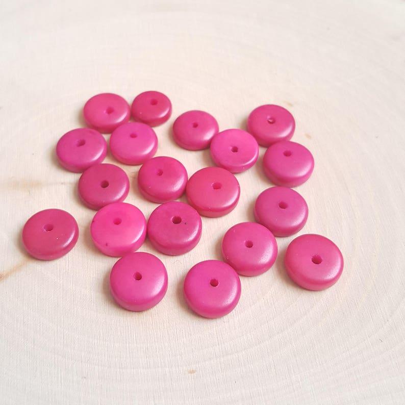 Tagua nut rondelle beads 11-12mm multi colors