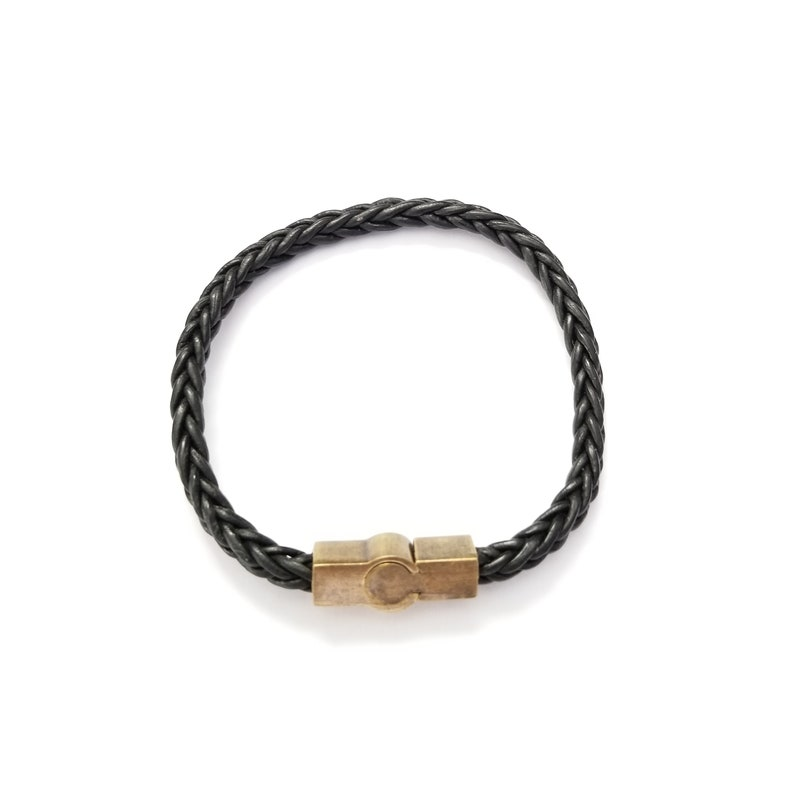 Leather braided square cord 4mm Bracelet Black with Pewter Brass Plated magnetic slide lock square tube Clasp 21x8mm.