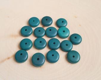 Tagua nut rondelle beads 11-12mm dark turquoise, vegetable ivory tagua nut 11-12mm rondelle beads.
