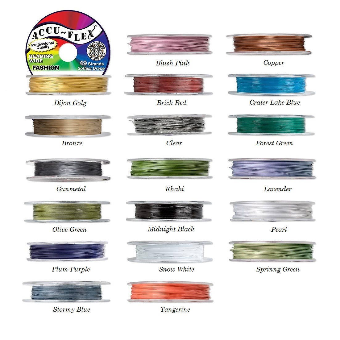 Perles accu-flex fil de 49 brins, bobine de 100 (30,48 pieds (30,48 100 m) 49 brins Accu-flex perles fil 0,019 pouces (0,48 mm) de diamètre, fil Accu-flex. 22e036