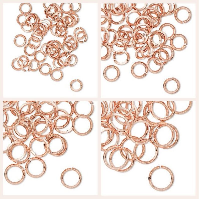 Hand cut copper round diamond wire 50 jumpring 6,8,10,12mm. 50 Copper Jumprings diamond wire round hand cut  6,8,10,12mm