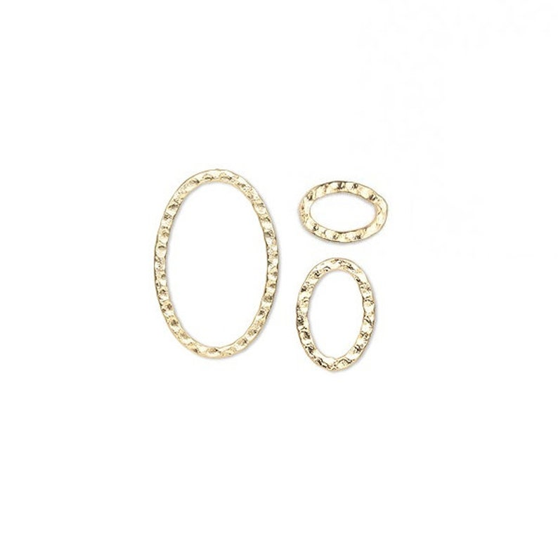 10 Components Hammered double sided Gold plated steel Flat Oval 12,14,18,30,40mm.