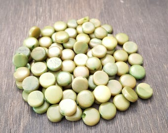 Tagua nut coin beads 9-10mm green, vegetable ivory tagua nut 9-10mm coin beads.