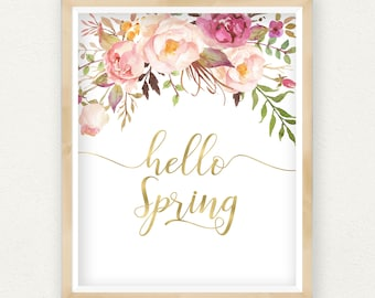 Hello Spring Printable Art Print, Spring Home Decor, Happy Spring Sign, Happy Easter Print, Pink Peony Wreath, Gold Nursery Floral Wall Art